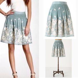 Rare Anthro Sagebrush Embroidered Silk Skirt